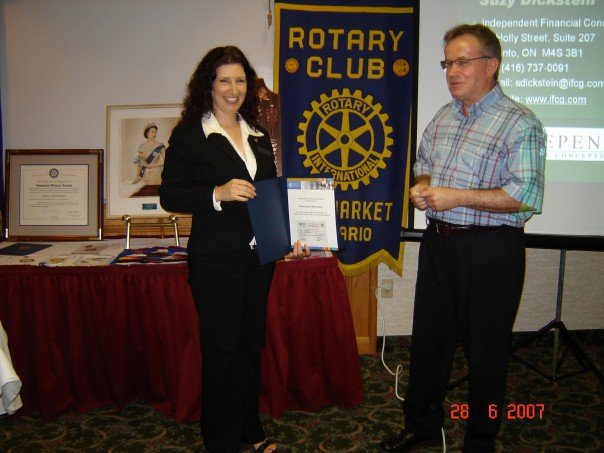 Suzy getting a donation certificate from Rotary of Newmarket for doing her charitable giving presentation. It was actually the best presentation I have probably ever done - Molson Canadian Rocks!